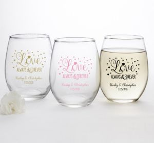 PERSONALIZED Wedding Stemless Wine Glasses 15oz (Printed Glass) (Pink, Sparkling Pink Wedding)
