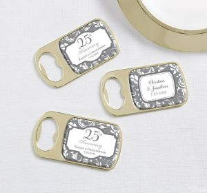 PERSONALIZED Wedding Bottle Openers - Gold (Printed Epoxy Label) (Silver Elegant Scroll)