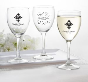PERSONALIZED Wedding Wine Glasses (Printed Glass) (White, Damask & Dots Engagement)