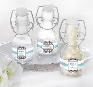 PERSONALIZED Wedding Glass Swing Top Bottles (Printed Label) (Always & Forever Anniversary)