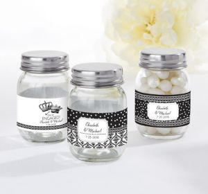 PERSONALIZED Wedding Mini Glass Mason Jars (Printed Label) (Damask & Dots Engagement)