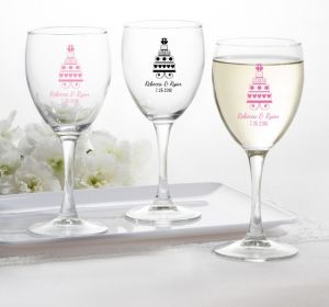 PERSONALIZED Wedding Wine Glasses (Printed Glass) (Bright Pink, Sweet Wedding Cake)