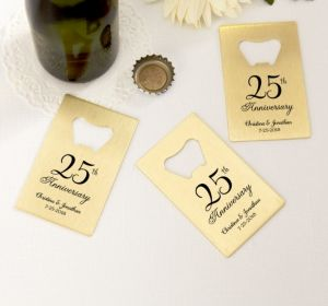 PERSONALIZED Wedding Credit Card Bottle Openers - Gold (Printed Metal) (50th Anniversary Elegant Scroll)