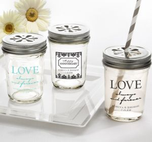 PERSONALIZED Wedding Mason Jars with Daisy Lids (Printed Glass) (Black, Always & Forever Phrase)