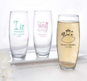PERSONALIZED Wedding Stemless Champagne Flutes (Printed Glass) (Pink, I Do Woo Hoo)