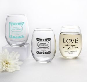 PERSONALIZED Wedding Stemless Wine Glasses 9oz (Printed Glass) (Black, Always & Forever Damask)