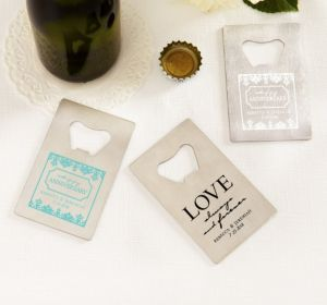 PERSONALIZED Wedding Credit Card Bottle Openers - Silver (Printed Metal) (Robin's Egg Blue, Always & Forever Love)