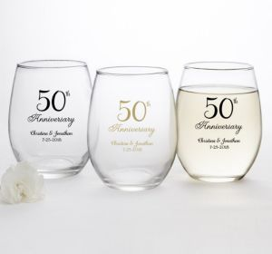 PERSONALIZED Wedding Stemless Wine Glasses 15oz (Printed Glass) (50th Anniversary Elegant Scroll)
