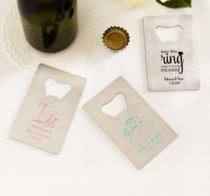 PERSONALIZED Wedding Credit Card Bottle Openers - Silver (Printed Metal) (Robin's Egg Blue, Blushing Bride Dress)