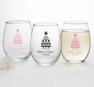PERSONALIZED Wedding Stemless Wine Glasses 15oz (Printed Glass) (Pink, Sweet Wedding Cake)