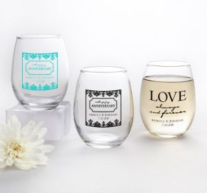 PERSONALIZED Wedding Stemless Wine Glasses 9oz (Printed Glass) (Robin's Egg Blue, Always & Forever Damask)