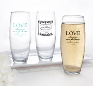 PERSONALIZED Wedding Stemless Champagne Flutes (Printed Glass) (Robin's Egg Blue, Always & Forever Anniversary)