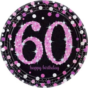 Prismatic 60th Birthday Lunch Plates 8ct - Pink Sparkling Celebration