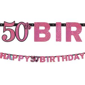 Prismatic 50th Birthday Banner - Pink Sparkling Celebration