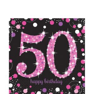 50th Birthday Lunch Napkins 16ct - Pink Sparkling Celebration