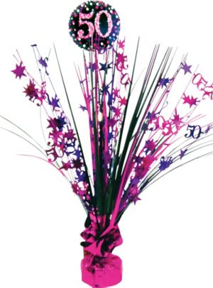 Prismatic 50th Birthday Spray Centerpiece - Pink Sparkling Celebration