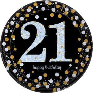 Prismatic 21st Birthday Lunch Plates 8ct - Sparkling ...