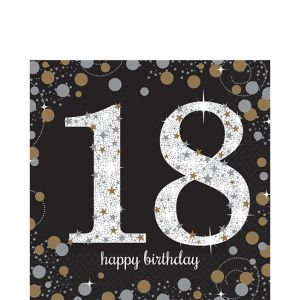 18th Birthday Lunch Napkins 16ct - Sparkling Celebration