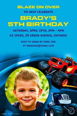 Custom Blaze and the Monster Machines Photo Invitation