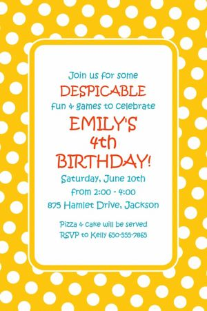 Custom Yellow Birthday Invitation