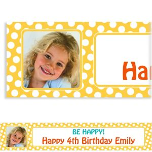 Custom Yellow Birthday Photo Banner