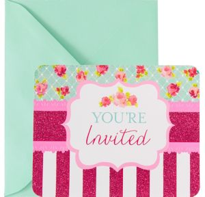 Glitter Stripes & Roses Invitations 8ct