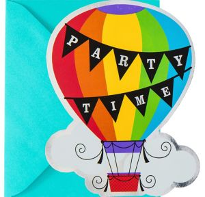 Metallic Rainbow Hot Air Balloon Invitations 8ct