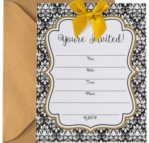 Black & White Damask Invitations 8ct