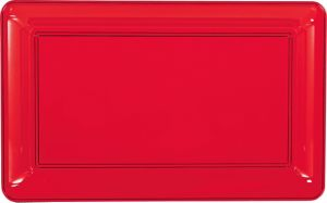 Red Plastic Rectangular Platter
