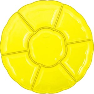Yellow Plastic Scalloped Sectional Platter
