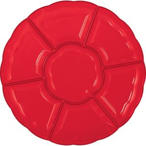Red Plastic Scalloped Sectional Platter