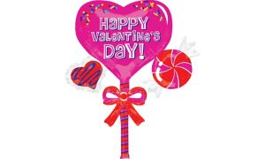 Happy Valentine's Day Balloon - Giant Lollipop Cluster