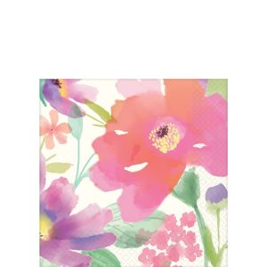 Watercolor Floral Beverage Napkins 36ct