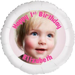 Custom Baby Girl Birthday Photo Balloon