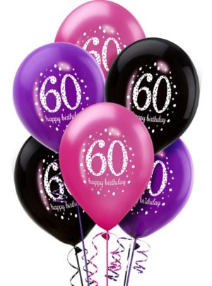 60th Birthday Balloons 6ct - Pink Sparkling Celebration