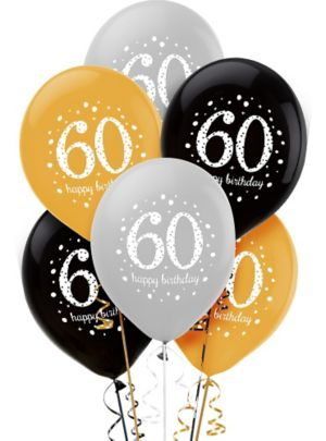 60th Birthday Balloons 6ct - Sparkling Celebration