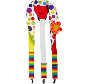 Polka Dot Rainbow Clown Suspenders