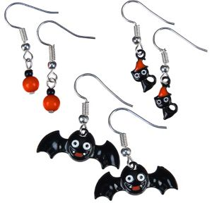 Bats & Cats Halloween Earrings Set 6pc