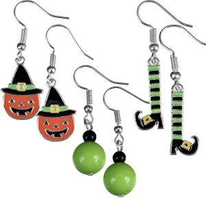 Jack-o'-Lantern & Witch Halloween Earrings Set 6pc