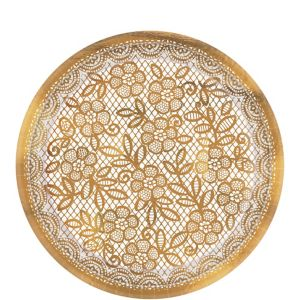Metallic Delicate Gold Lace Dessert Plates 8ct