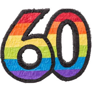 Rainbow Number 60 Pinata