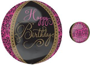 Damask Happy Birthday Balloon - Orbz Fabulous Celebration