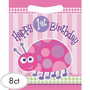 Pink Ladybug 1st Birthday Favor Bags 8ct