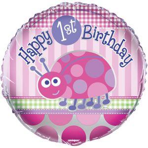 Pink Ladybug 1st Birthday Balloon