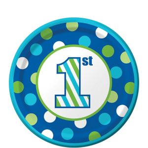 Blue Dots & Stripes 1st Birthday Dessert Plates 8ct