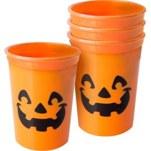 Orange Jack-o'-Lantern Cups 4ct