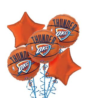 Oklahoma City Thunder Balloon Bouquet 5pc - Basketball