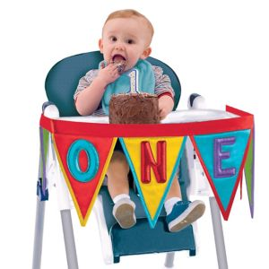 Rainbow 1st Birthday High Chair Pennant Banner