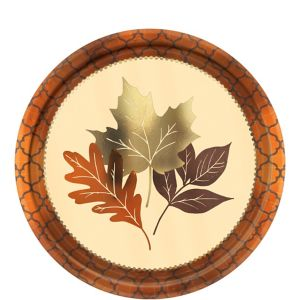 Metallic Copper Leaves Dessert Plates 8ct