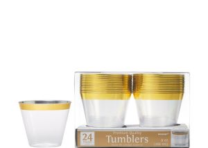 CLEAR Gold-Trimmed Premium Plastic Cups 24ct